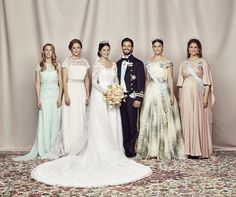 The newlyweds with their siblings: (L-R) Sara Hellqvist, Lina Hellqvist, Crown Princess Victoria and Princess Madeleine
