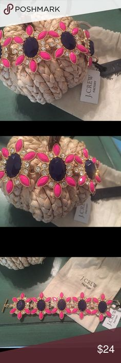 Auth. JCrew Pink / Navy Blue / Crystals Bracelet💗 Authentic JCREW Hot Pink / Fuchsia / Navy Blue/ Crystal / Gold Bracelet! It is stunning! It measures 7.5 inches long. New with tags💘 Comes with the JCrew jewelry Pouch. 💗 J. Crew Jewelry Bracelets