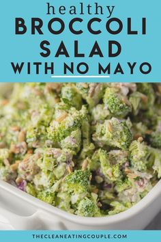 The best Healthy Broccoli Salad Recipe! Made with no mayo and greek yogurt instead - this easy clean eating side dish is super healthy and quick to make. Make it vegan but subbing out no bacon! Best Broccoli Salad Recipe, Healthy Broccoli Salad, Healthy Vegetable Recipes, Healthy Gluten Free Recipes, Broccoli Recipes, Ww Recipes, Salad Recipes, Healthy Side Dishes, Side Dishes Easy