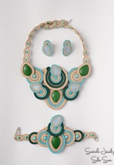 Soutache necklace, bracelet and earrings with green jade, turquoise and Preciosa beads