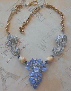 Repurposed Blue Statement Necklace Assemblage OOAK by Vinchique