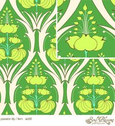 Amy Butler Fabric /  Passion Lily in Fern / Soul Blossoms by mimis, $8.99