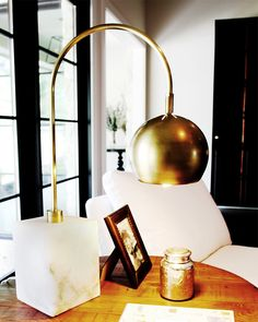 Marble and brass lamp