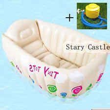 1 NWT Baby Newborn Foldable Inflatable Snug Bath Tub Safety + Inflator pump