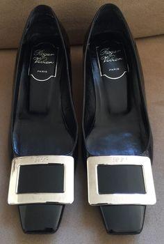 Roger Vivier Paris Black Patent Leather Heels Pumps Silver Buckle Size 35.5 #RogerVivier #PumpsClassics