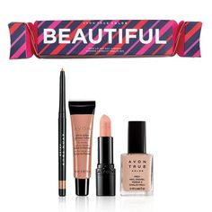"#Avon True Color Beautiful Nudes Lip and Nail #Surprise Open! Surprise! Smile! Give the gift of holiday magic with these special ""surprise-inside crackers,"" filled with Avon True Color favorites. They are perfect for every makeup lover on your list who rocks the nude shades. $30 Value. Available for a limited time! #FreeShipping #GWP #WhileSuppliesLast #CJTeam #Sale #Beautiful #Nude #BeautyBundle #StockingStuffer #AvonExclusive #Avon4Me #C25 Shop Avon @ www.TheCJTeam.com"