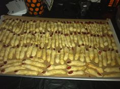 Made these pretzel fingers for halloween. 3 c warm  milk sat w 2 pk dry yeast for 3 min,mix w 8 T br sugar, 6 T melted butter, 6 c flour- knead or process-rise 1 hr- roll into pinky thin fingers- place almond- dip in baking soda and water mixture-place on buttered cookie sheet- bake 350 5/6 min.