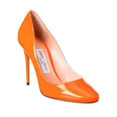 Jimmy Choo Jimmy Choo Esme 100 Patent Round Toe Pump (21.265 RUB) ❤ liked on Polyvore featuring shoes, pumps, round toe pumps, orange shoes, round cap, high heel pumps and orange patent leather pumps