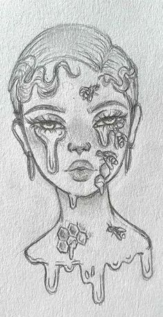 Girl Drawing Sketches, Art Drawings Sketches Simple, Cute Drawings, Indie Drawings, Girl Drawings, Tattoo Sketches, Ideas For Drawing, Tumblr Girl Drawing, Tumblr Sketches