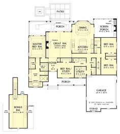 2500 sq ft one level 4 bedroom house plans | house plan - four