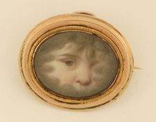 Unusual baby girl eye (mourning pin), ca. early 1800's