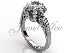 Crown Engagement Ring  14k White Gold Diamond Unique Art Deco