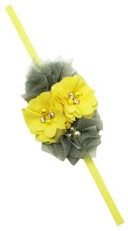 Chiffon and Tulle Fabric Flower with Elastic Headband Skinny Headbands, Elastic Headbands, Tulle Fabric, Fabric Flowers, Stylish Dresses, Chiffon, Princess, Silk Fabric, Elegant Dresses