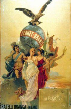 Un vecchio manifesto pubblicitario del Fernet Branca Vintage Italian Posters, Pub Vintage, Vintage Advertising Posters, Poster Vintage, Vintage Labels, Vintage Travel Posters, Vintage Advertisements, Old Posters, Nostalgic Images