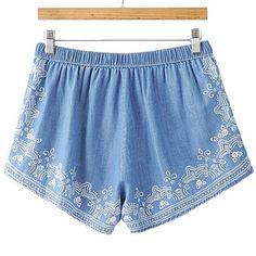 Ornate chambray shorts (sky blue)