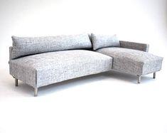 Sofa Bank Chaise moderne miniaturen 1:12 schalen Dolls House Warm grijs structuur geweven Lounge Suite Scandinavische Design poppenhuis