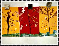 Autumn Trees & Q-Tip Leaves- kinder for spring