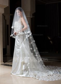 One-tier Cathedral Bridal Veils With Cut Edge (006034307)