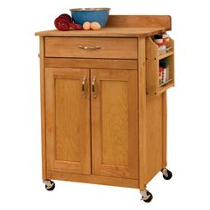 Catskill Craftsman Deluxe Butcher Block Cart Portable Kitchen Cart - 61533