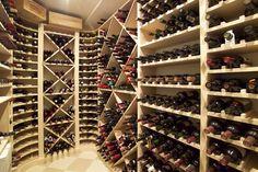 Wine cellar in shingle style home.