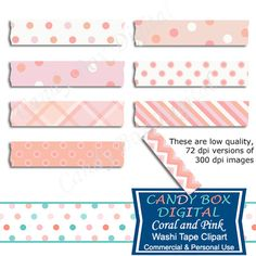 Coral and Pink Washi Tape Clipart by Candy Box Digital. Great for digital scrapbooks, journals and to highlight your pictures on blogs or websites.