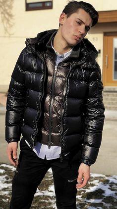 eca9526b60568 Puffy Jacket, Jacket Men, Pvc Raincoat, Cool Jackets, Winter Jackets,  Nylons, Moncler, Leather Men, Bombers