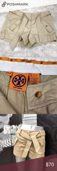 Tory Burch Belted Shorts Like New Tory Burch Belted Shorts with 2-Front Pockets & 10 Gold Medallion Logos! Only worn Once! In Perfect Condition! Tory Burch Shorts Skorts