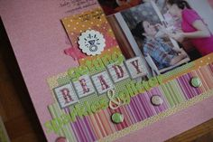paper: pretty paper. true stories. {and scrapbooking classes with cupcakes.}:   love the brads on the striped paper