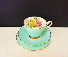Vintage Harleigh Bone China Tea Cup Saucer & Plate Trio Set Turquoise | eBay