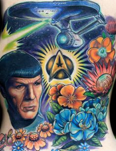 Tattoo: Star Trek tat by Sean Herman  Live Long & Prosper!- stalking myself on web again. Hard to believe I've had five more sessions on this since then and there's still a little bit of more room to fill.