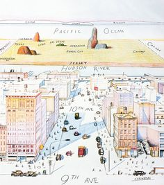 New Yorker Magazine cover depicting the New Yorkers View of the World from Ave. Art by Saul Steinberg, March The New Yorker, New Yorker Covers, Saul Steinberg, Vintage Vogue, Nebraska, Cover Art, Kansas, Auto Poster, Vogue Magazin