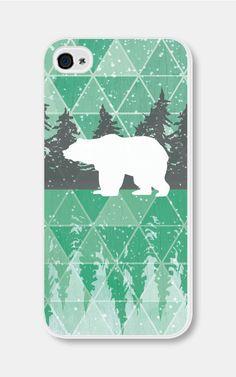 Geometric Phone Case Mint Green Polar Bear