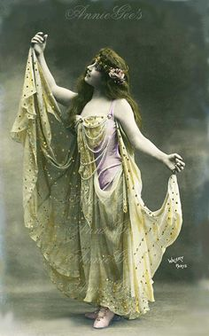 Vintage Actress in Yellow  Dramatic Pose