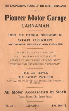 """""""The Engineering House of the North Midlands. All Motor Accessories in Stock"""" -- Pioneer Motor Garage, Carnamah Old Shows, Booklet, Schedule, Garage, Engineering, Advertising, House, Accessories, Timeline"""