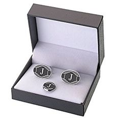Lillian Rose Monogrammed J Cufflinks/Tie Tack. Other alphabet letters available. Great grooms or groomsman gifts.