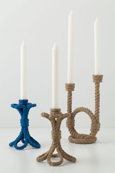 Rope it… Rope candle holders from Anthropologie.