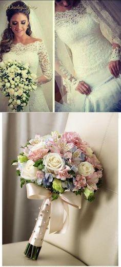 Koronkowa suknia ślubna i dwie propozycje na bukiet!