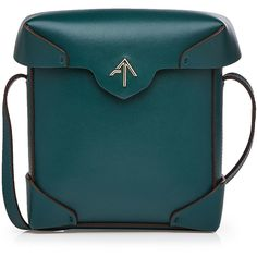 Manu Atelier Mini Pristine Leather Shoulder Bag ($465) ❤ liked on Polyvore featuring bags, handbags, shoulder bags, green, mini shoulder bag, leather handbags, leather shoulder handbags, blue shoulder bag and green leather purse