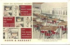 """The Automat holds a special place in the history of American restaurants. Many of its locations were beautifully decorated in art deco style. It appears in paintings by Norman Rockwell and Edward Hopper and in at least two songs: """"Let's Have Another Cup of Coffee"""" (by Irving Berlin) and """"Diamonds Are A Girl's Best Friend"""" (which was sung by MARILYN MONROE)."""