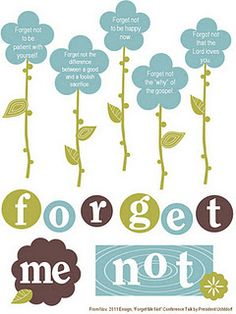 """""""Forget me not"""" ideas  Get Relief Society Ideas at - www.MormonLink.com  """"I cannot believe how many LDS resources I found... It's about time someone thought of this!""""   - MormonLink.com"""