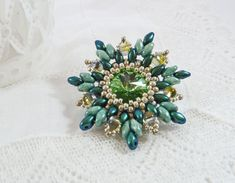 Green Flower Brooch Flower Corsage Peridot by BeauBellaJewellery