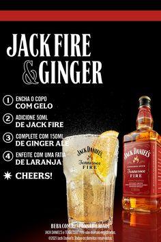 Ginger Ale, Festa Jack Daniels, Jack Fire, Cocktail Drinks, Cocktails, Cooking Restaurant, Getting Drunk, Mixed Drinks, Bartender
