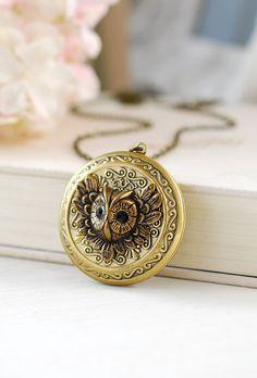 Owl Locket Necklace Owl Necklace Round Ornate Brass Locket Victorian Winged Owl Wisdom Woodland Jewelry Best Friend Jewelry Christmas Gift