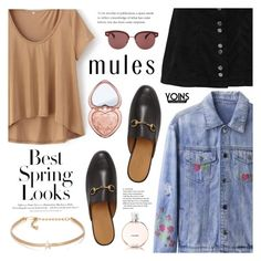 """""""Yoins - Slim 'Em On: Mules"""" by dora04 ❤ liked on Polyvore featuring Gucci, H&M, Oliver Peoples, Too Faced Cosmetics, Kenneth Jay Lane, Chanel, yoins, yoinscollection and loveyoins"""