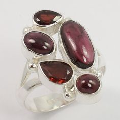 Fashionable Ring Size US 8 Natural GARNET Gemstone 925 Sterling Silver Wholesale #Unbranded #Fashion