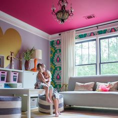 Two girls sitting in a colorful home office w/ pink ceiling Kids Room Paint, Room Paint Colors, Hot Pink Bedrooms, Romantic Bedrooms, Small Bedrooms, Colored Ceiling, Pink Ceiling Paint, Ceiling Painting, Bedroom Arrangement