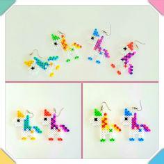 Einhorn ohrringe #earrings #bügelperlen #hamabeads #unicorn