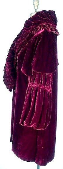c. 1920's/1930's Plum Silk Velvet Short Evening Coat. Sideway