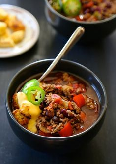 Slow Cooker Tijuana Chili with Cornbread Croutons & Queso | Community Post: 15 Hearty Bowls Of Chili To Curl Up With This Fall
