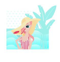 Ma dernière illustration animée #GIF #illustratrice #girly #summer #pink #retro #pop